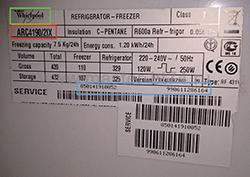 марка, модель холодильника